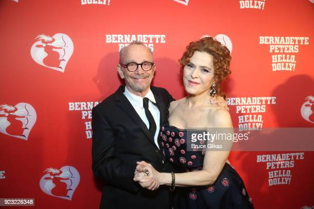 Joel Grey and Bernadette Peters pose at Bernadette Peters Opening Night celebration for Hello Dolly on Broadway at Sardis on February 22 2018 in New...