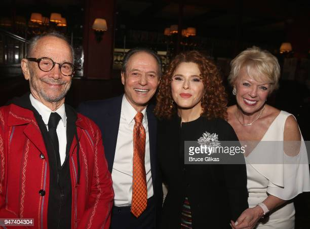 Joel Grey and Bernadette Peters pose with cast at the 50th Anniversary Reunion of the cast of the legendary Broadway Musical George M at Sardis on...