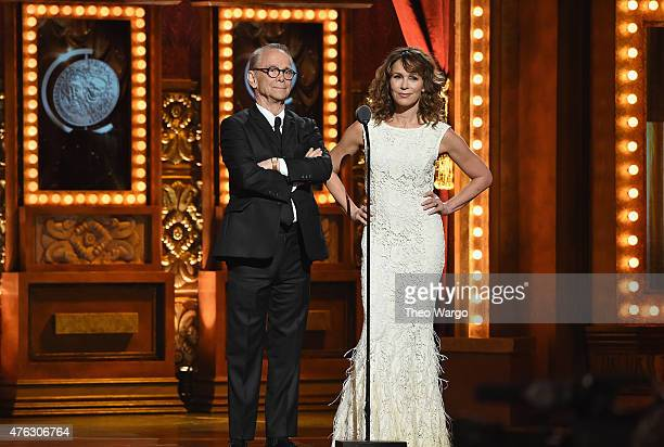 Joel Grey and Jennifer Grey speak onstage at the 2015 Tony Awards at Radio City Music Hall on June 7, 2015 in New York City.