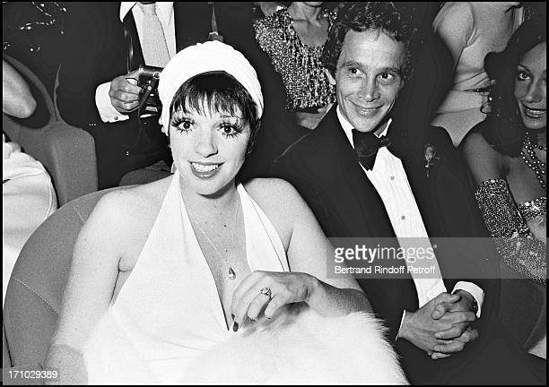 "Joel Grey and Liza Minnelli during the premiere of the movie ""Cabaret"" in Paris in 1972."