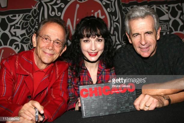 Joel Grey Bebe Neuwirth and James Naughton during 'Chicago 10th Anniversary' CD Release Signing at Time Square Virgin Megastore in New York NY United...
