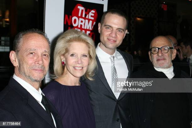 Joel Grey Daryl Roth Jordan Roth and Larry Kramer attend The 25th Anniversary Benefit Stages Reading of 'THE NORMAL HEART' at Walter Kerr Theatre on...