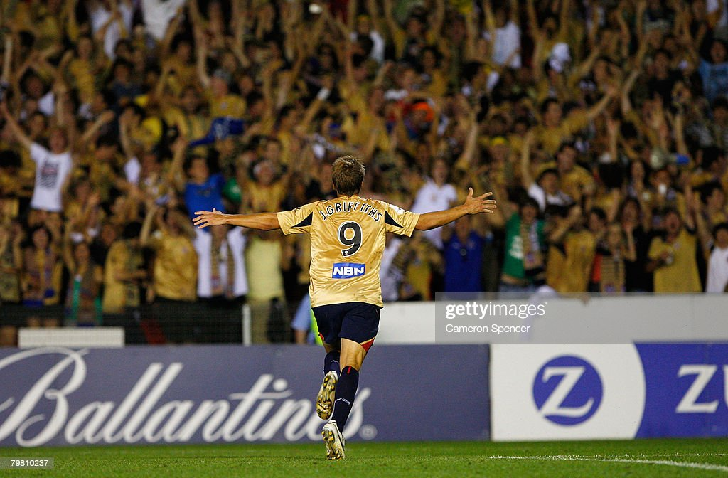 Joel Griffiths of the Jets celebrates after scoring from the penalty spot during the A-League Preliminary Final match between the Newcastle Jets and the Queensland Roar at EnergyAustralia Stadium on February 17, 2008 in Newcastle, Australia.