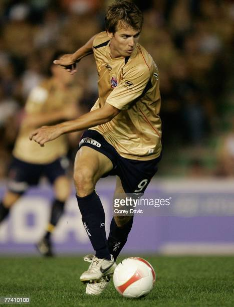 Joel Griffiths of the Jets controls the ball during the round nine A-League match between the Newcastle Jets and the Queensland Roar at...