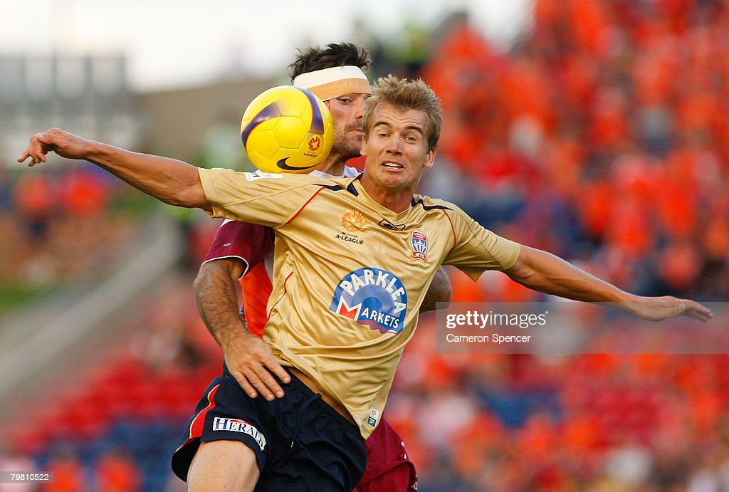 Joel Griffiths of the Jets heads the ball during the A-League Preliminary Final match between the Newcastle Jets and the Queensland Roar at EnergyAustralia Stadium on February 17, 2008 in Newcastle, Australia.