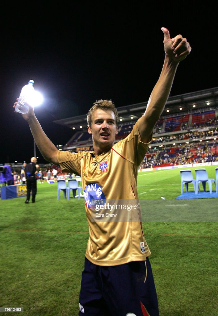 Joel Griffiths of the Jets waves to the crowd after the Jets won the A-League Preliminary Final match between the Newcastle Jets and the Queensland Roar at EnergyAustralia Stadium on February 17, 2008 in Newcastle, Australia.