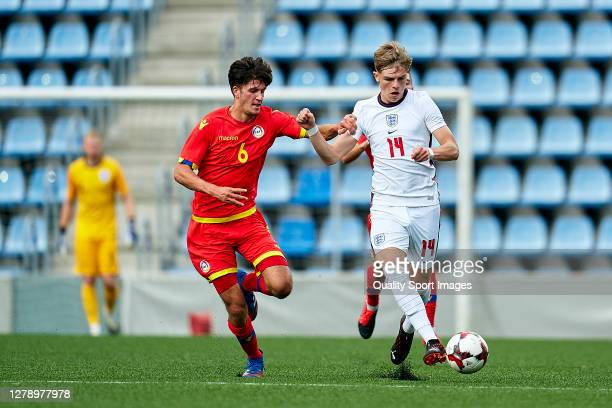 Joel Guillen Garcia of Andorra competes for the ball with Brandon Williams of England during the 2020 UEFA European Under21 Championship Group C...