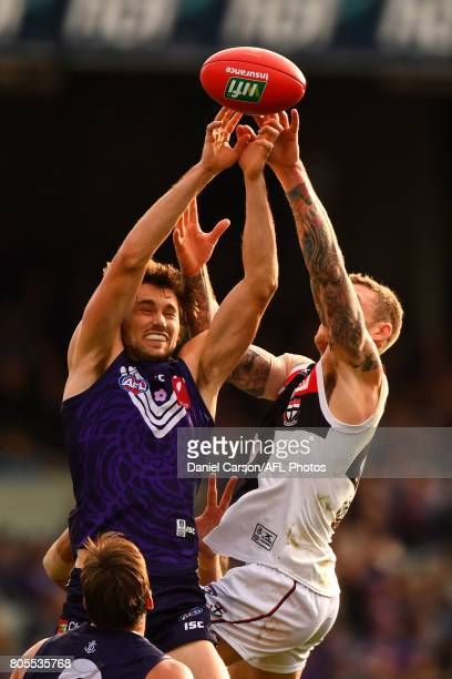 Joel Hamling of the Dockers competes for a mark during the 2017 AFL round 15 match between the Fremantle Dockers and the St Kilda Saints at Domain...