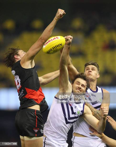 Joel Hamling of the Dockers competes in the air during the round nine AFL match between the Essendon Bombers and the Fremantle Dockers at Marvel...