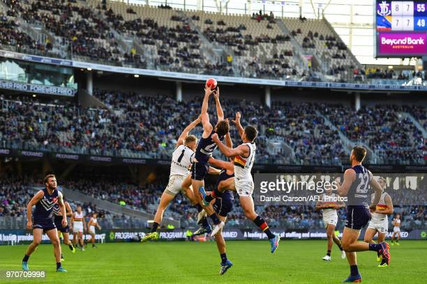 Joel Hamling of the Dockers flies for a mark during the 2018 AFL round 12 match between the Fremantle Dockers and the Adelaide Crows at Optus Stadium...