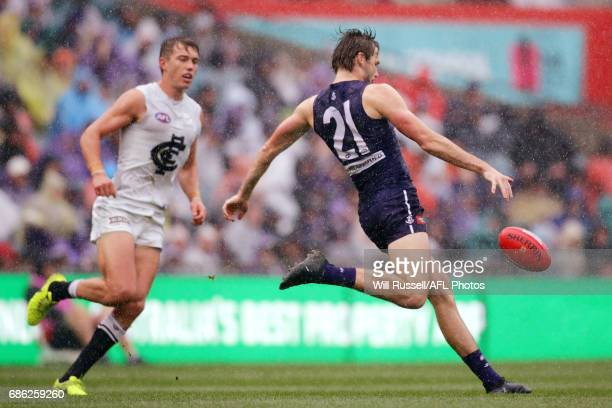 Joel Hamling of the Dockers kicks the ball during the round nine AFL match between the Fremantle Dockers and the Carlton Blues at Domain Stadium on...