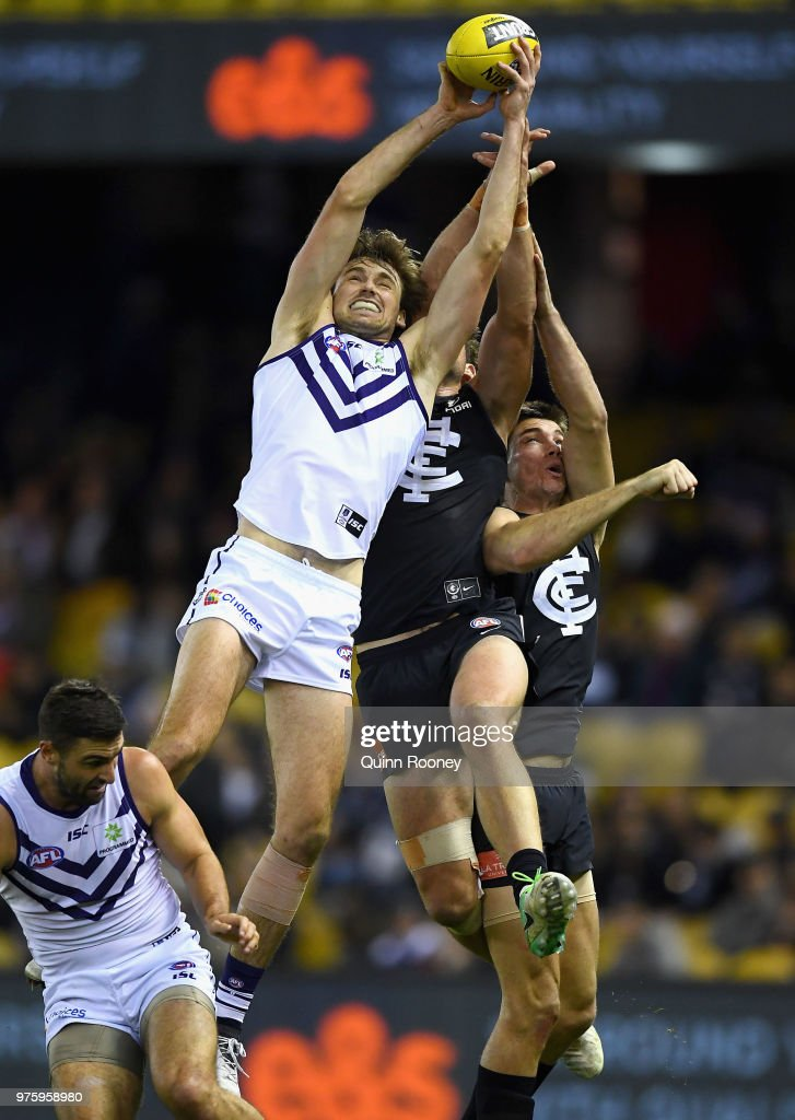 Joel Hamling of the Dockers marks during the round 13 AFL match between the Carlton Blues and the Fremantle Dockers at Etihad Stadium on June 16, 2018 in Melbourne, Australia.