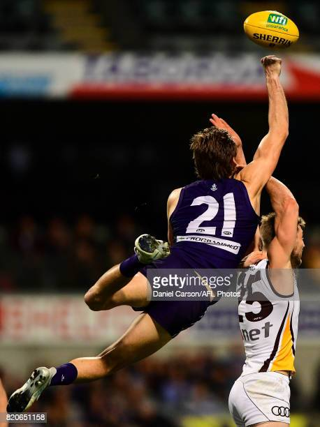 Joel Hamling of the Dockers spoils a mark attempt during the 2017 AFL round 18 match between the Fremantle Dockers and the Hawthorn Hawks at Domain...
