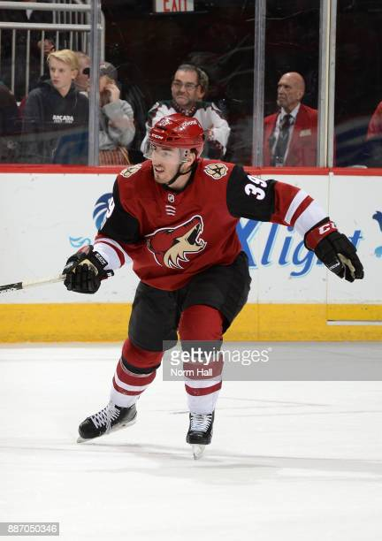Joel Hanley of the Arizona Coyotes skates up ice against the New Jersey Devils at Gila River Arena on December 2 2017 in Glendale Arizona