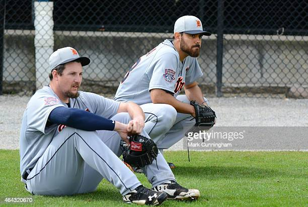 Joel Hanrahan and Joakim Soria of the Detroit Tigers look on during Spring Training workouts at the TigerTown Facility on February 23 2015 in...