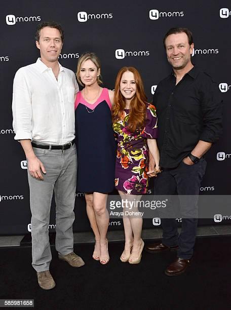 Joel Henricks actresses Ashley Jones Amy Davidson and Kacy Lockwood attend the 4moms Car Seat launch event at Petersen Automotive Museum on August 4...