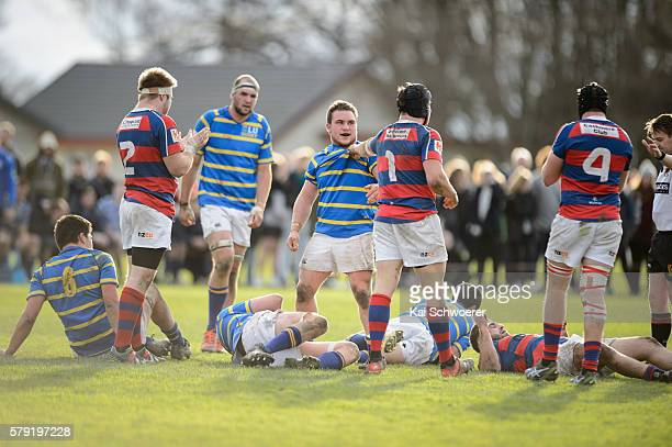 Joel Hintz of Lincoln University and Ash Hyde of Sydenham start a fight during the Hawkins Division 1 Trophy Semi Final match between Lincoln...
