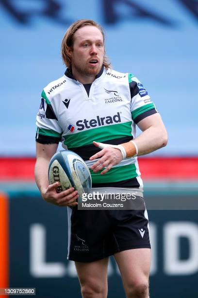 Joel Hodgson of Newcastle Falcons looks on during the Gallagher Premiership Rugby match between Leicester Tigers and Newcastle Falcons at Welford...