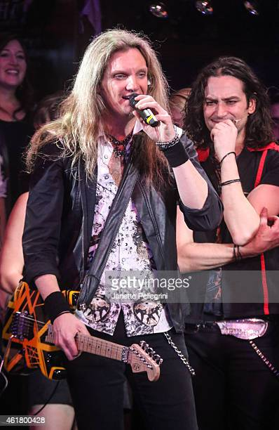 Joel Hoekstra and Constantine Maroulis attend 'Rock Of Ages' Final Performance On Broadway at Helen Hayes Theatre on January 18 2015 in New York City