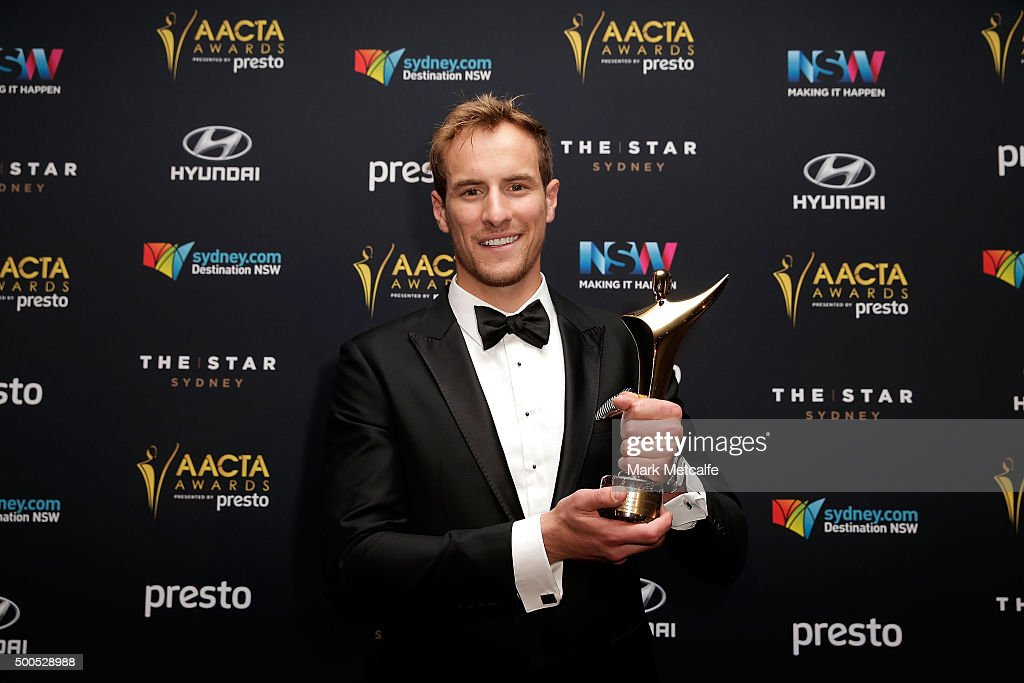 Joel Jackson poses with an AACTA Award for Best Lead Actor in a Television Drama during the 5th AACTA Awards Presented by Presto at The Star on December 9, 2015 in Sydney, Australia.