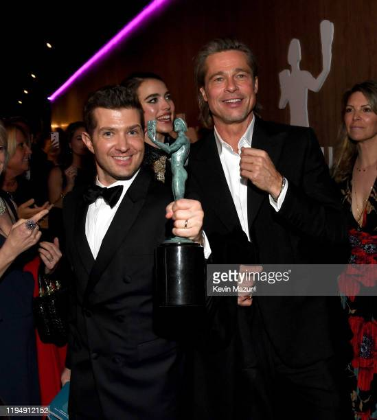 Joel Johnstone and Brad Pitt attend PEOPLE's Annual Screen Actors Guild Awards Gala at The Shrine Auditorium on January 19 2020 in Los Angeles...