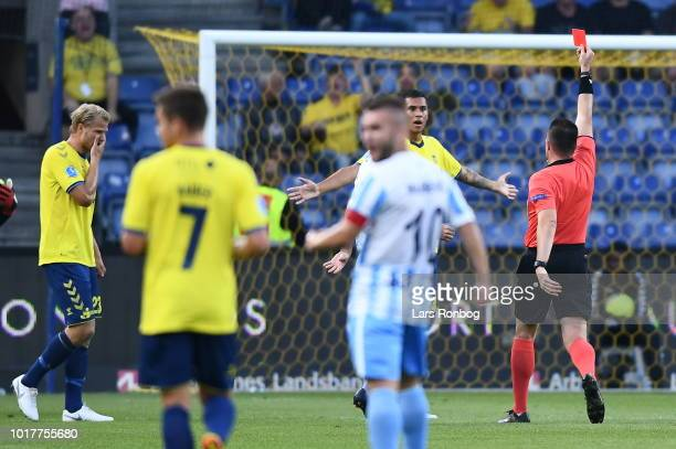 The players of Brondby IF huddle after the UEFA Europa League Qual match between Brondby IF and Spartak Subotica at Brondby Stadion on August 16 2018...