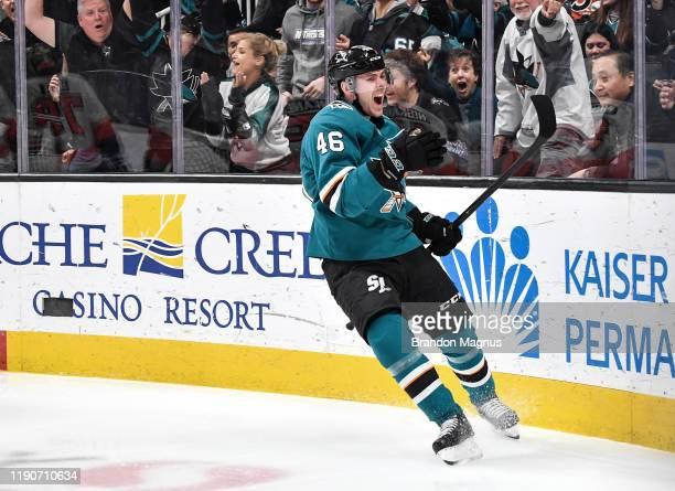 Joel Kellman of the San Jose Sharks celebrates scoring his first NHL goal against the Philadelphia Flyers at SAP Center on December 28, 2019 in San...