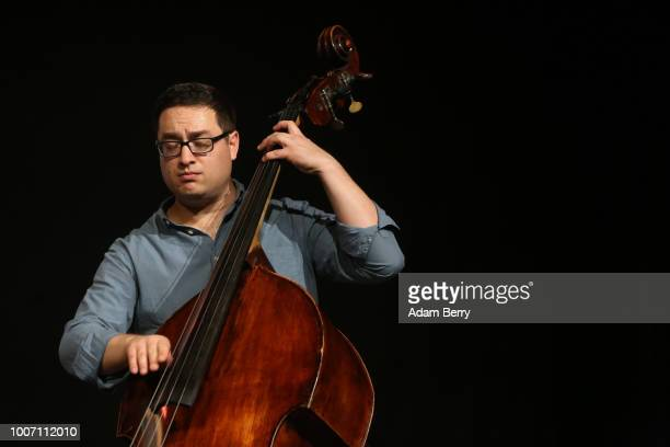 Joel Kerr of the band Siach HaSadeh performs during a concert at Yiddish Summer Weimar on July 28, 2018 in Weimar, Germany. The annual four-week...