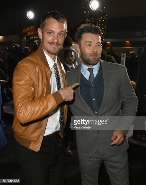 Joel Kinnaman and Joel Edgerton attend the Premiere Of Netflix's 'Bright' at Regency Village Theatre on December 13 2017 in Westwood California