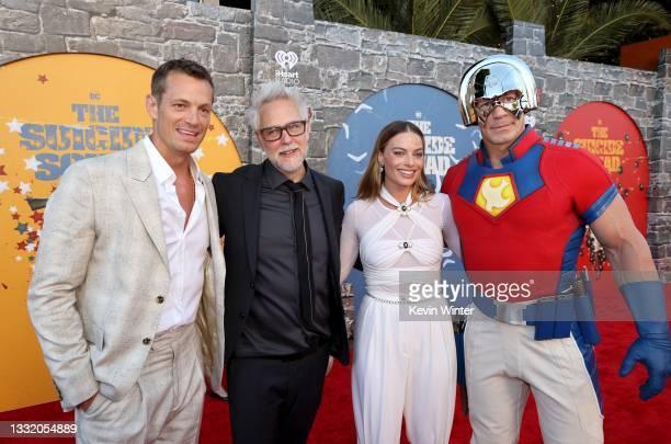 "Joel Kinnaman, James Gunn, Margot Robbie, and John Cena attend the Warner Bros. Premiere of ""The Suicide Squad"" at Regency Village Theatre on August..."