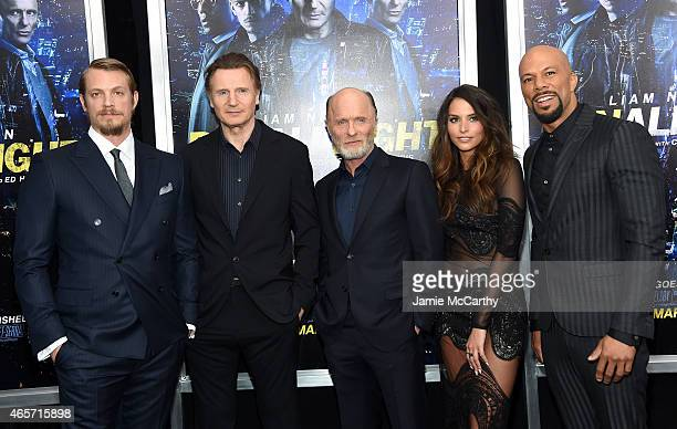 Joel Kinnaman Liam Neeson Ed Harris Genesis Rodriguez and Common attend the Run All Night New York Premiere at AMC Lincoln Square Theater on March 9...