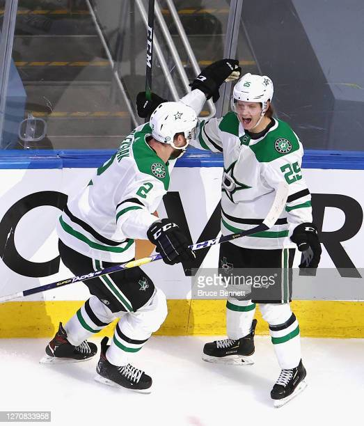 Joel Kiviranta of the Dallas Stars celebrates his overtime winning goal against the Colorado Avalanche in Game Seven of the Western Conference Second...