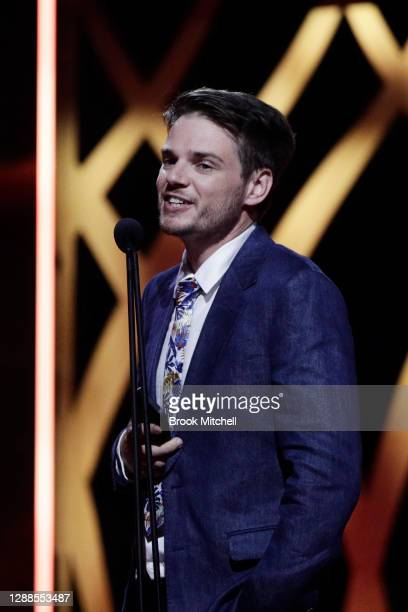 Joel Kohn and Tom Davies accept the ACCTA Award for Best Short Film during the 2020 AACTA Awards presented by Foxtel at The Star on November 30, 2020...