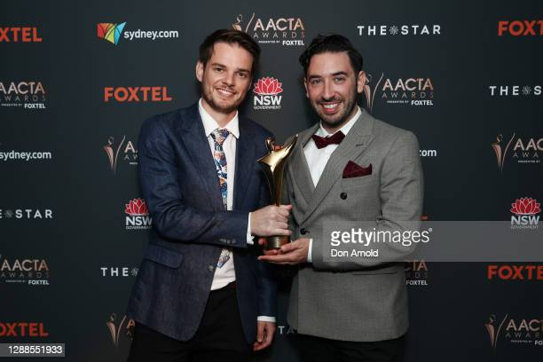 Joel Kohn and Tom Davies pose with the ACCTA Award for Best Short Film in the media room during the 2020 AACTA Awards presented by Foxtel at The Star...