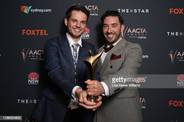 Joel Kohn and Tom Davies pose with the ACCTA Award for Best Short Film during the 2020 AACTA Awards presented by Foxtel at The Star on November 30,...