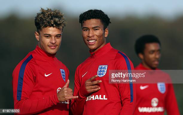 Joel Latibeaudiere Daniel Loader and Tashan OakleyBoothe of England during the U17 England Training Session at Football Centre FRF on October 29 2016...