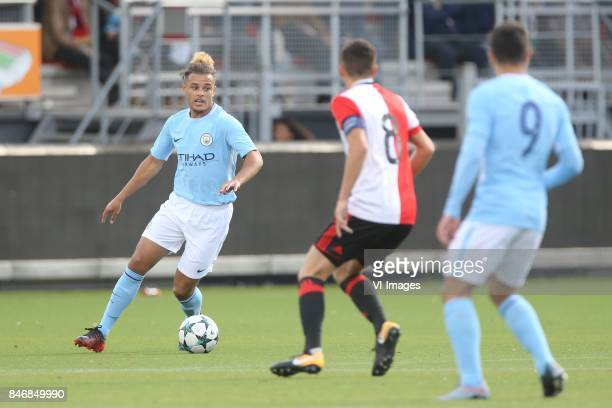 Joel Latibeaudiere of Manchester City U19 Jordy Wehrmann of Feyenoord U19 Brahim Diaz of Manchester City U19 during the UEFA Youth League match...