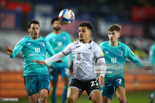 Joel Latibeaudiere of Swansea City battles for possession with Adam Smith of AFC Bournemouth during the Sky Bet Championship match between Swansea...