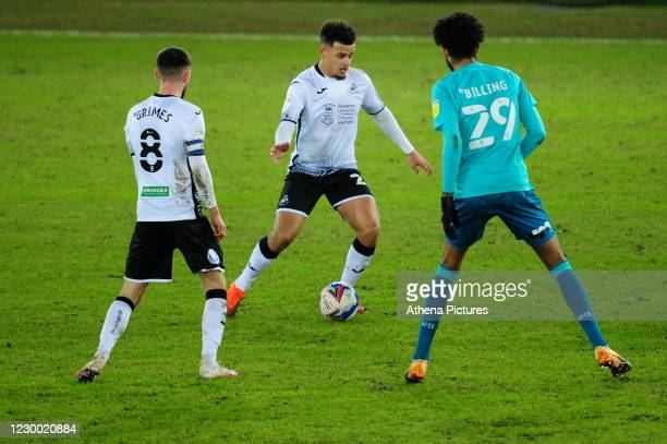Joel Latibeaudiere of Swansea City in action during the Sky Bet Championship match between Swansea City and AFC Bournemouth at the Liberty Stadium on...