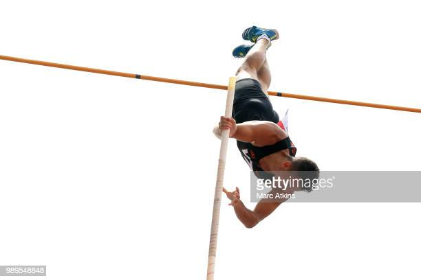 Joel Leon Benitez of Great Britain competes during the men's pole vault final during Day Two of the Muller British Athletics Championships at the...