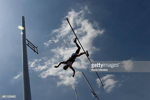 Joel Leon Benitez of Great Britain during qualification for the Boys Pole Vault on day three of the IAAF World Youth Championships Cali 2015 on July...