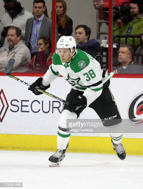 Joel L'Esperance of the Dallas Stars skates for position in his NHL debut during a game against the Carolina Hurricanes on February 16 2019 at PNC...