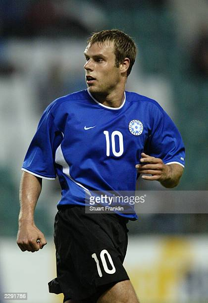 Joel Lindpere of Estonia in action during the Baltic Cup match between Latvia and Estonia held on July 5 2003 at the ALe Coq Arena in Tallinn Estonia...