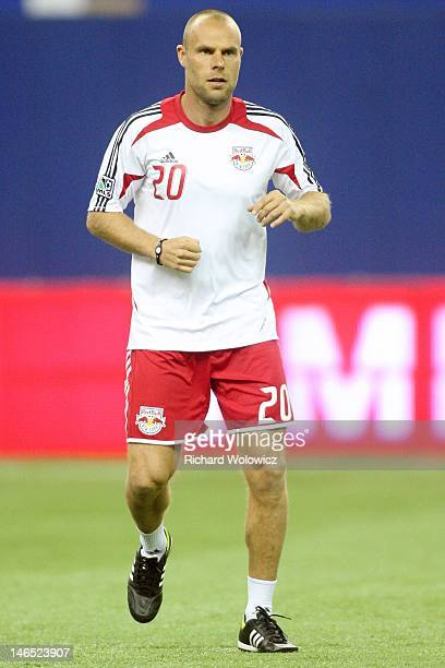 Joel Lindpere of the New York Red Bulls warms up during the warm up period prior to facing the Montreal Impact in their MLS match at the Olympic...