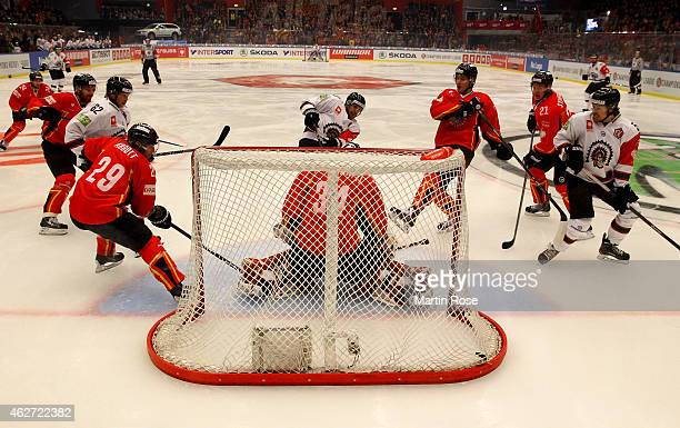 Joel Lundqvist of Gothenburg scores his team'sopening goal during the Champions Hockey League final match at Coop Norrbotten Arena on February 3 2015...