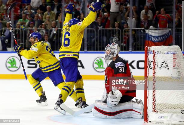 Joel Lundqvist of Sweden celebrate the opening goal during the 2017 IIHF Ice Hockey World Championship Gold Medal game Canada and Sweden at Lanxess...