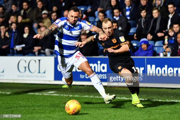 Joel Lynch of Queens Park Rangers and Kamil Grosicki of Hull City in action during the Sky Bet Championship match between Queens Park Rangers and...
