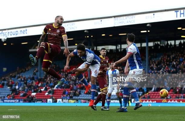 Joel Lynch of Queens Park Rangers steers the ball during the Sky Bet Championship match between Blackburn Rovers and Queens Park Rangers at Ewood...