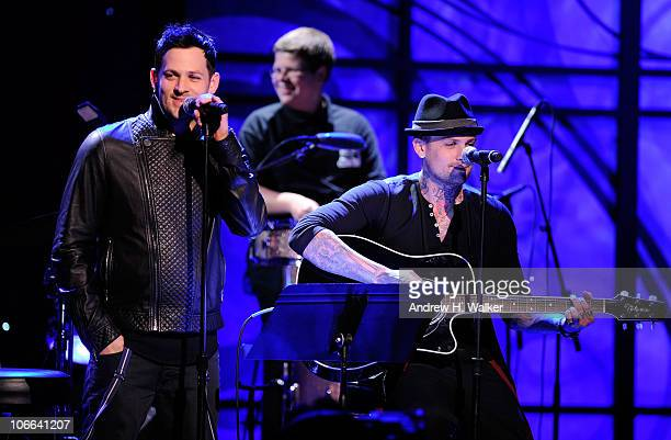 Joel Madden and Benji Madden of Good Charlotte perform onstage at the VH1 Save The Music Foundation 2010 Gala at Cipriani Wall Street on November 8,...