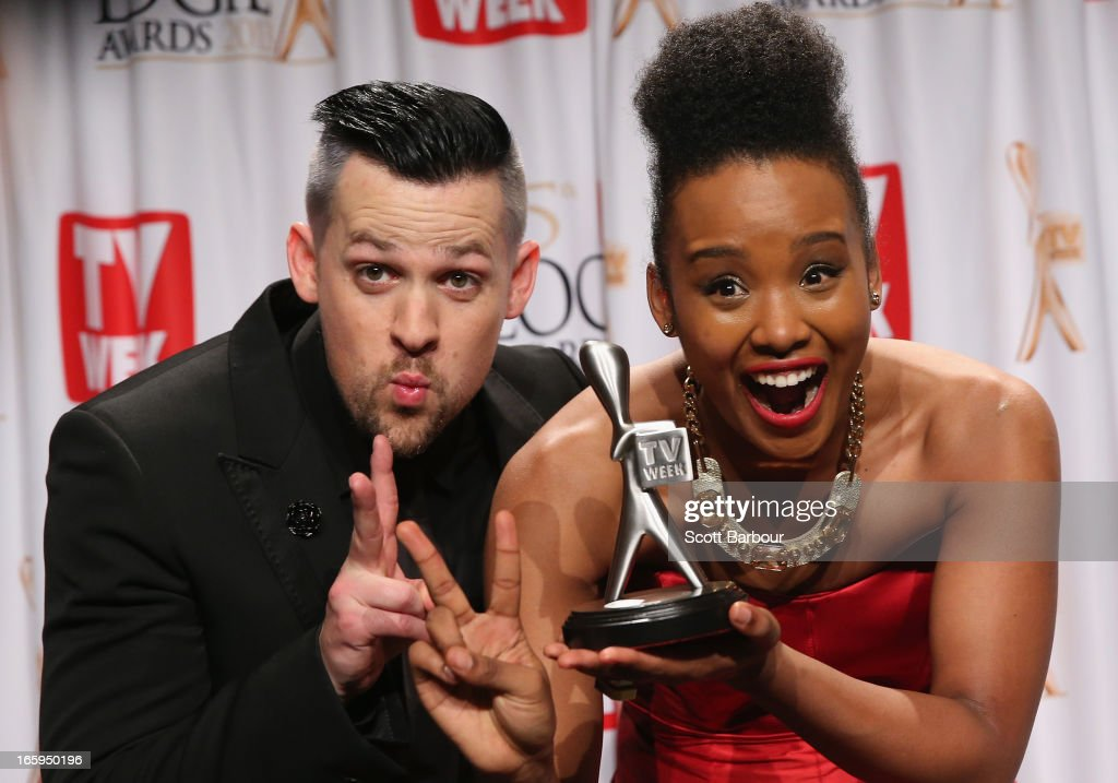 Joel Madden and Faustina Agolley, aka Fuzzy pose in the awards room after 'The Voice' won the Logie for Most Popular Light Entertainment at the 2013 Logie Awards at the Crown Palladium on April 7, 2013 in Melbourne, Australia.